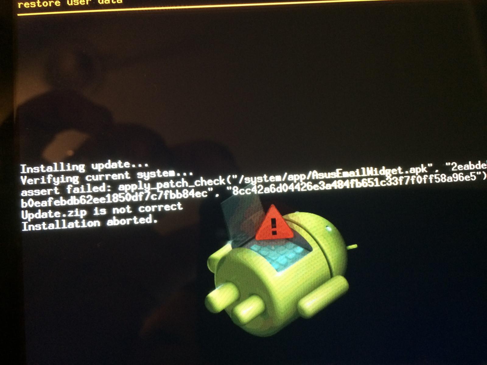 En la imagen se puede ver la actualizacion de android y se puede ver que intenta escribir erronea mente el archivo /system/app/AsusEmailWidget.apk.jpg